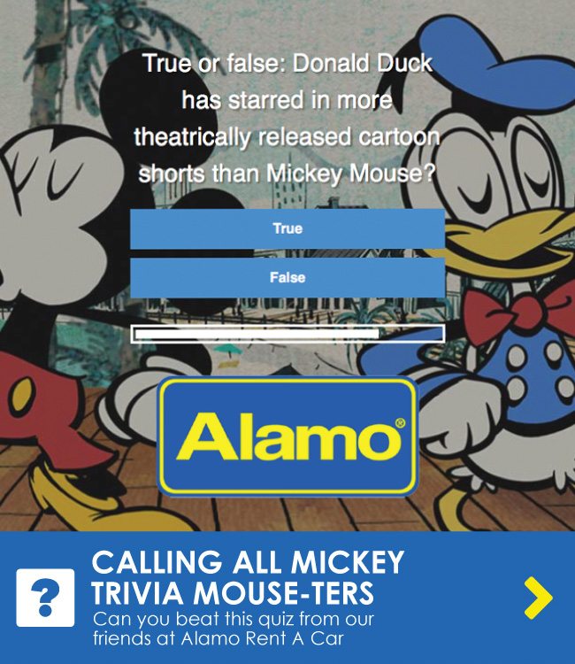 CALLING ALL MICKEY TRIVIA MOUSE-TERS - Can you beat this quiz from our friends at Alamo Rent A Car?