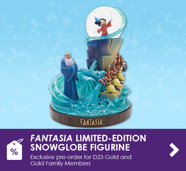 FANTASIA LIMITED-EDITION SNOWGLOBE FIGURINE - Exclusive pre-order for D23 Gold and Gold Family Members
