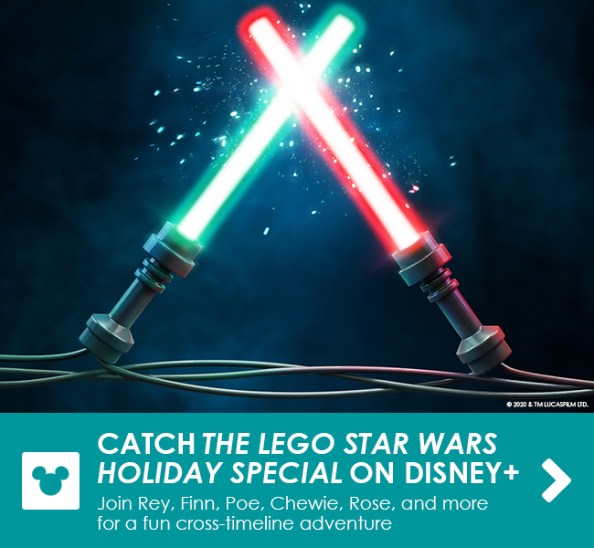 CATCH THE LEGO STAR WARS HOLIDAY SPECIAL ON DISNEY+ - Join Rey, Finn, Poe, Chewie, Rose, and more for a fun cross-timeline adventure